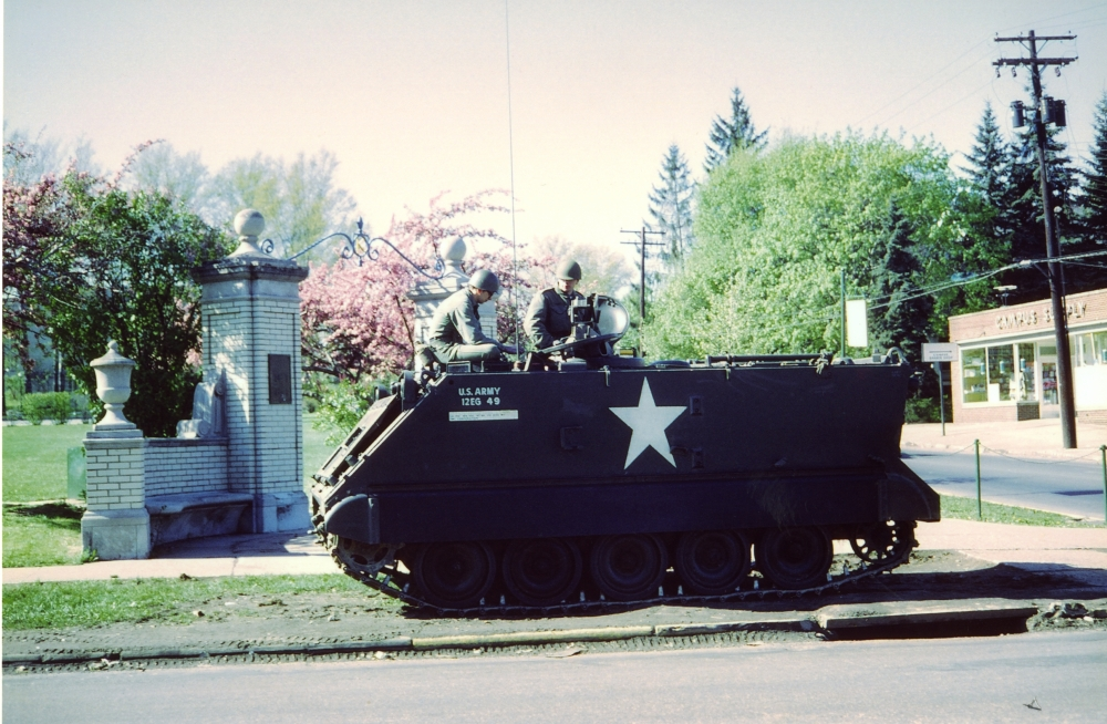 Ohio National Guard tank at the corner of Main and Lincoln streets.