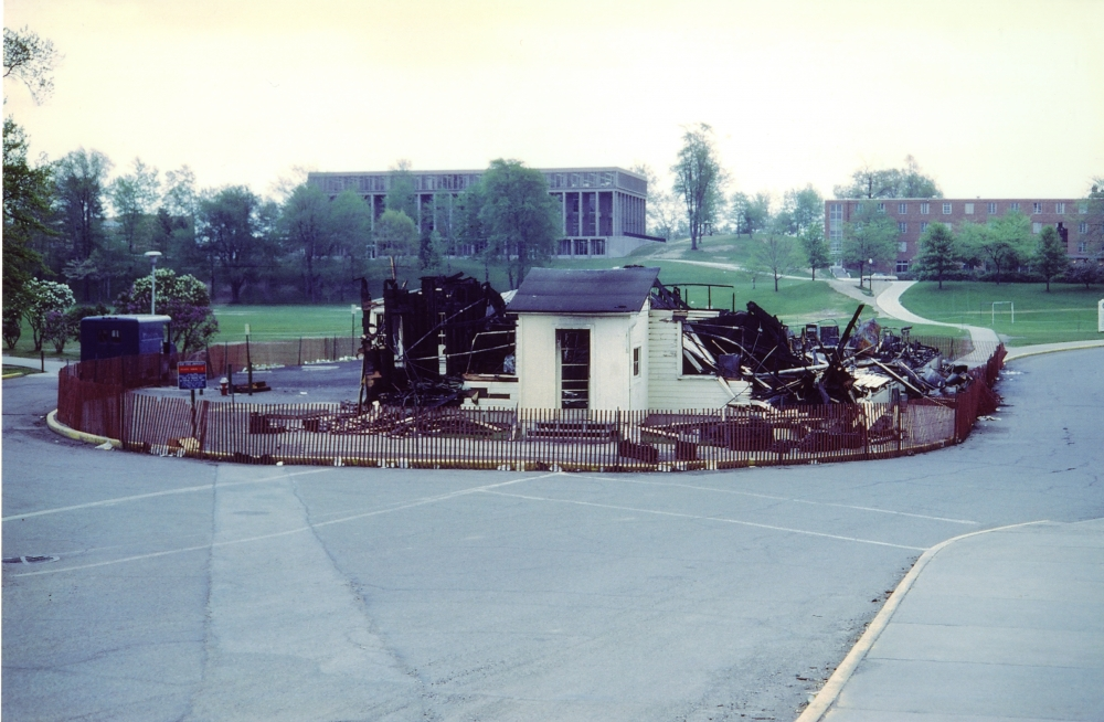Burned down ROTC building on Kent State University campus.