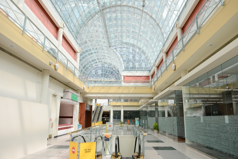Near empty shops in the Galleria in Downtown Cleveland