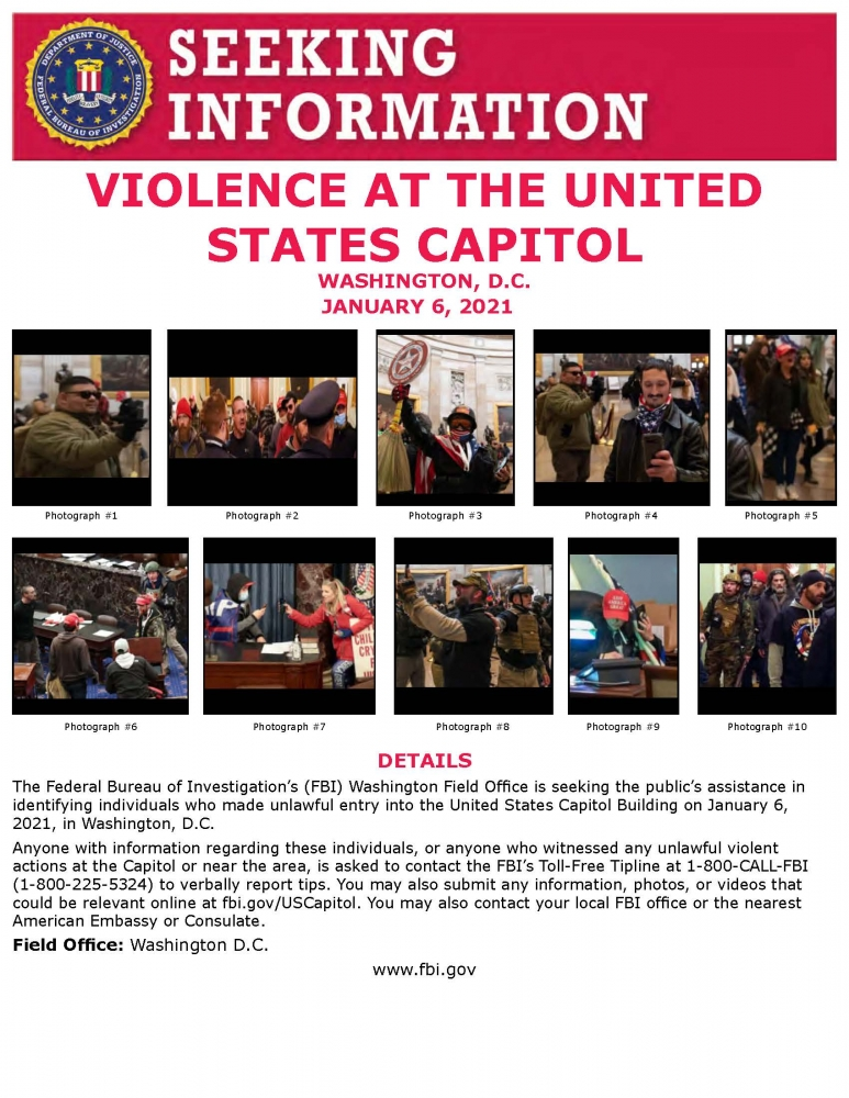 FBI Capitol wanted pictures