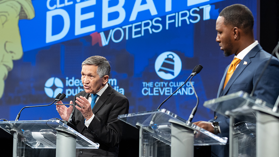 Dennis Kucinich and Basheer Jones at the Idea Center in Cleveland, Ohio.