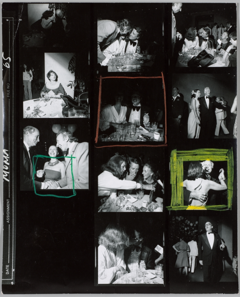 Contact sheet of gala in New York by Larry Fink