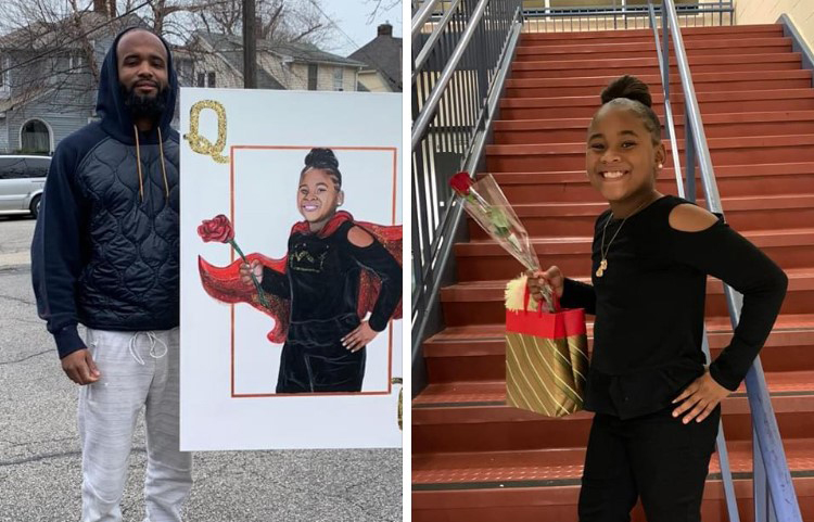 Brandon Graves poses with art portrait and subject