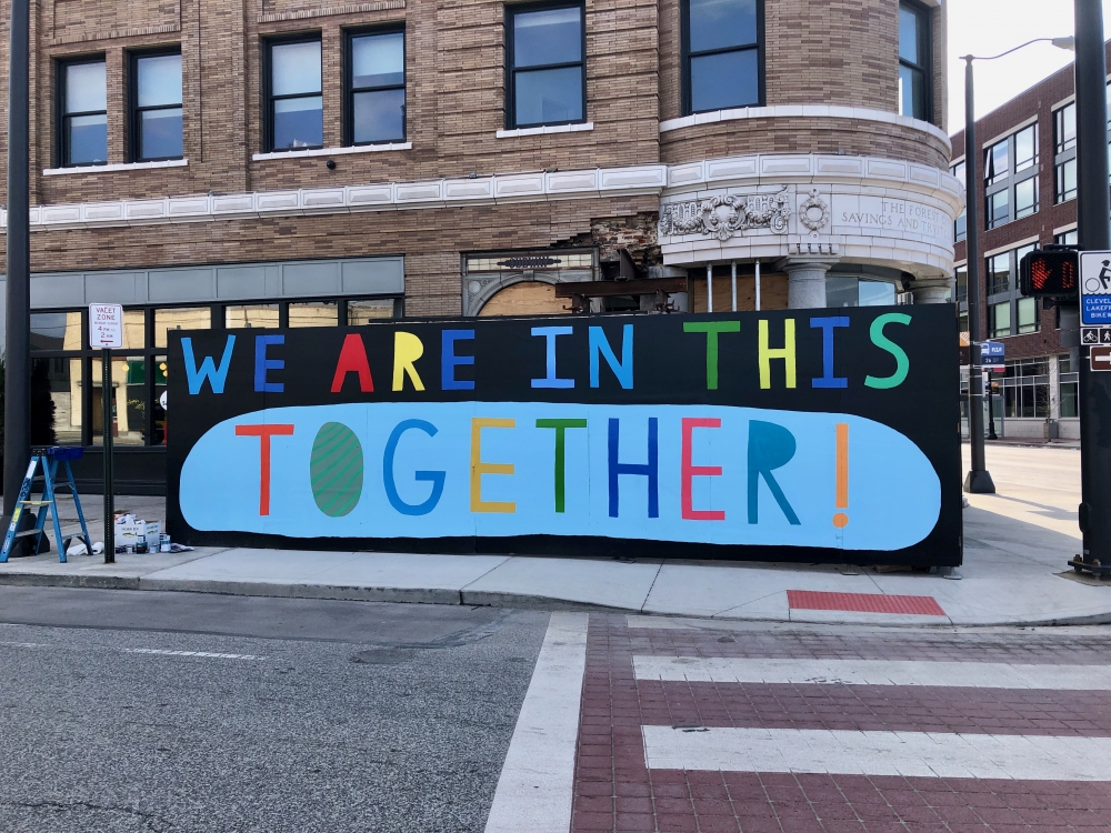 Ohio City mural with bright positive message