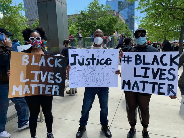 Trina Corlew with Black Lives Matter at the Cleveland protest