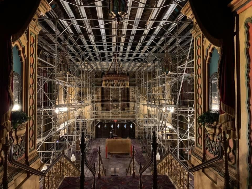 Scaffolding during the restoration work at Akron Civic Theatre