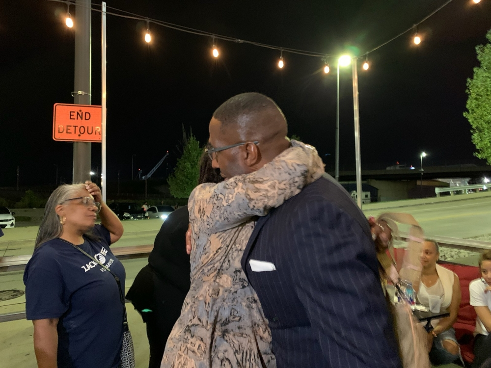 Former Cleveland City Ward 2 Councilman shared hugs and handshakes with his supporters after conceding the race. [Gabriel Kramer / Ideastream Public Media]