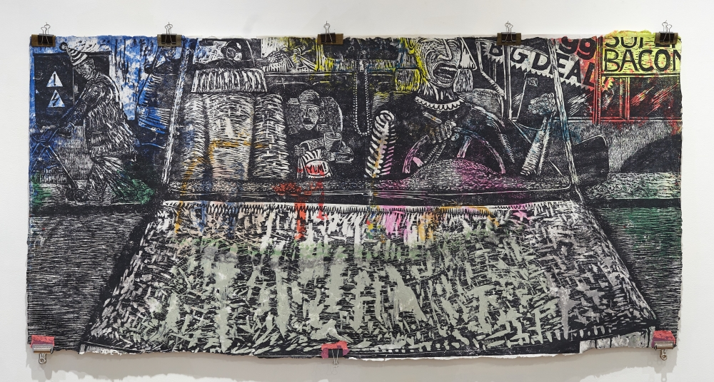"""Claudio Orso woodblock print """"Malnurtured"""" on view now at Bostwick Building Gallery"""
