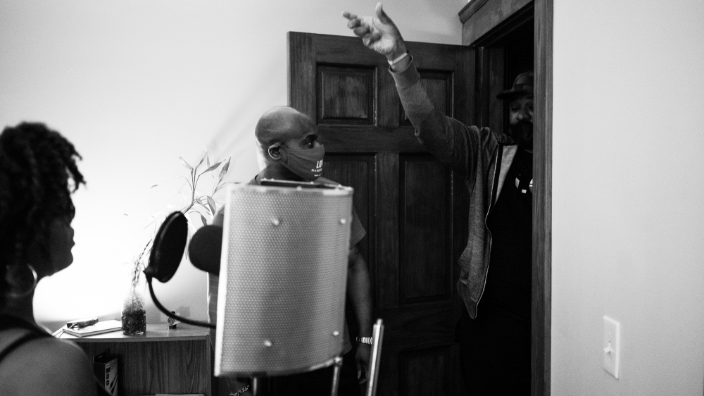 Mariama Whyte, Daniel Gray-Kontar and Terrel Wallace during a recording session at the Twelve House.