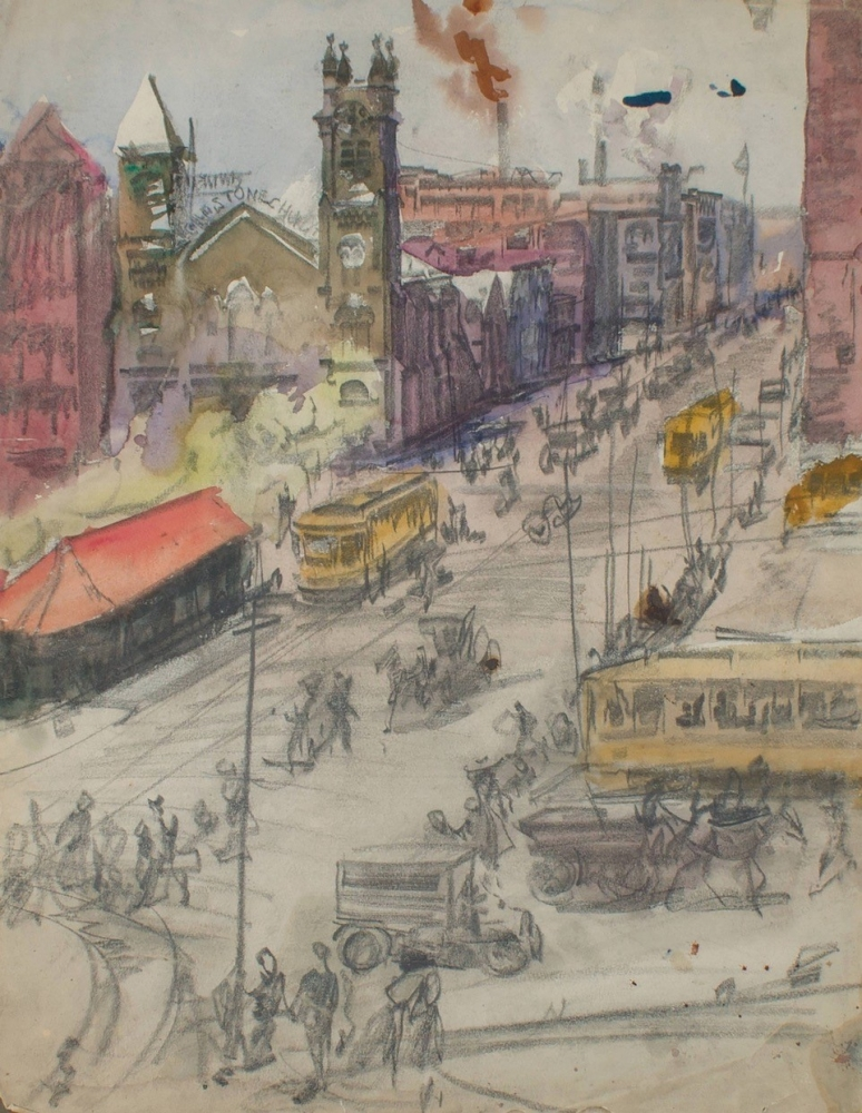 painting by Frank Nelson Wilcox (American, 1887–1964) Bustling Public Square, Cleveland, Ohio, 1912