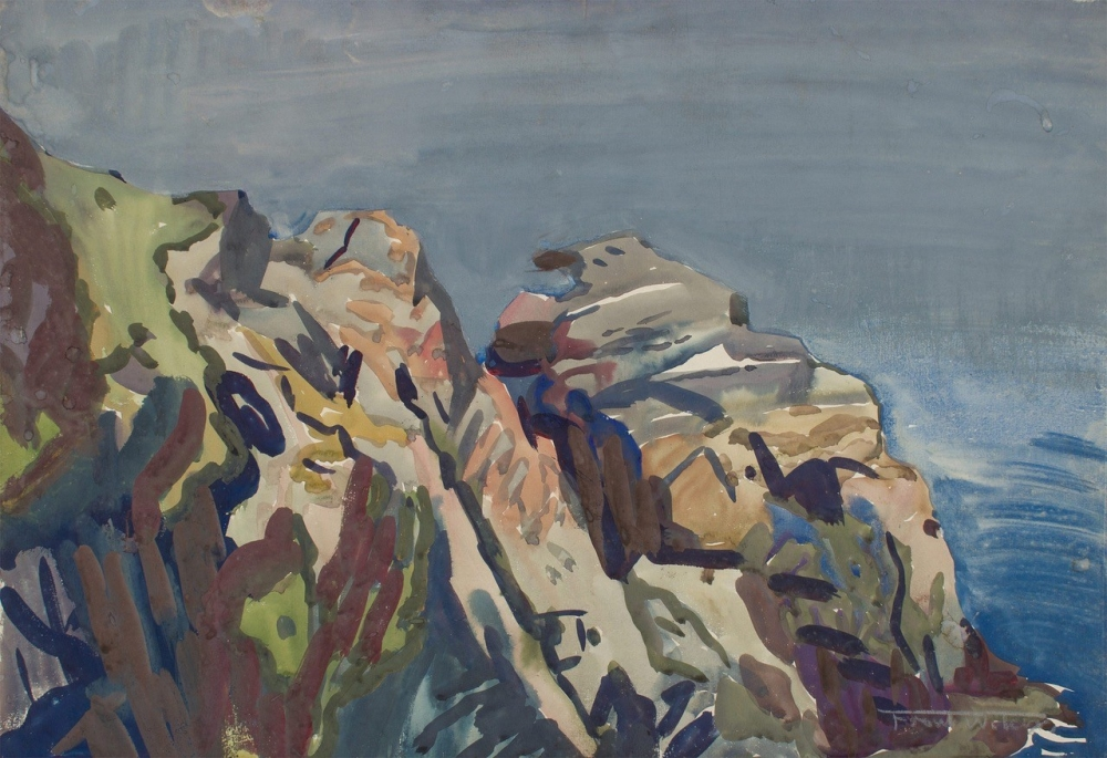 painting by Frank Nelson Wilcox (American, 1887-1964) Rocks of White Island, c. 1923 [Wolfs Gallery]