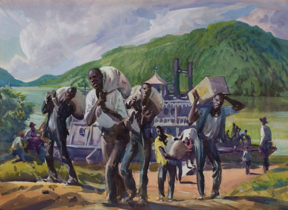 painting by Frank Nelson Wilcox (American, 1887-1964) Stevedores, Ohio River, c. 1920 [Wolfs Gallery]