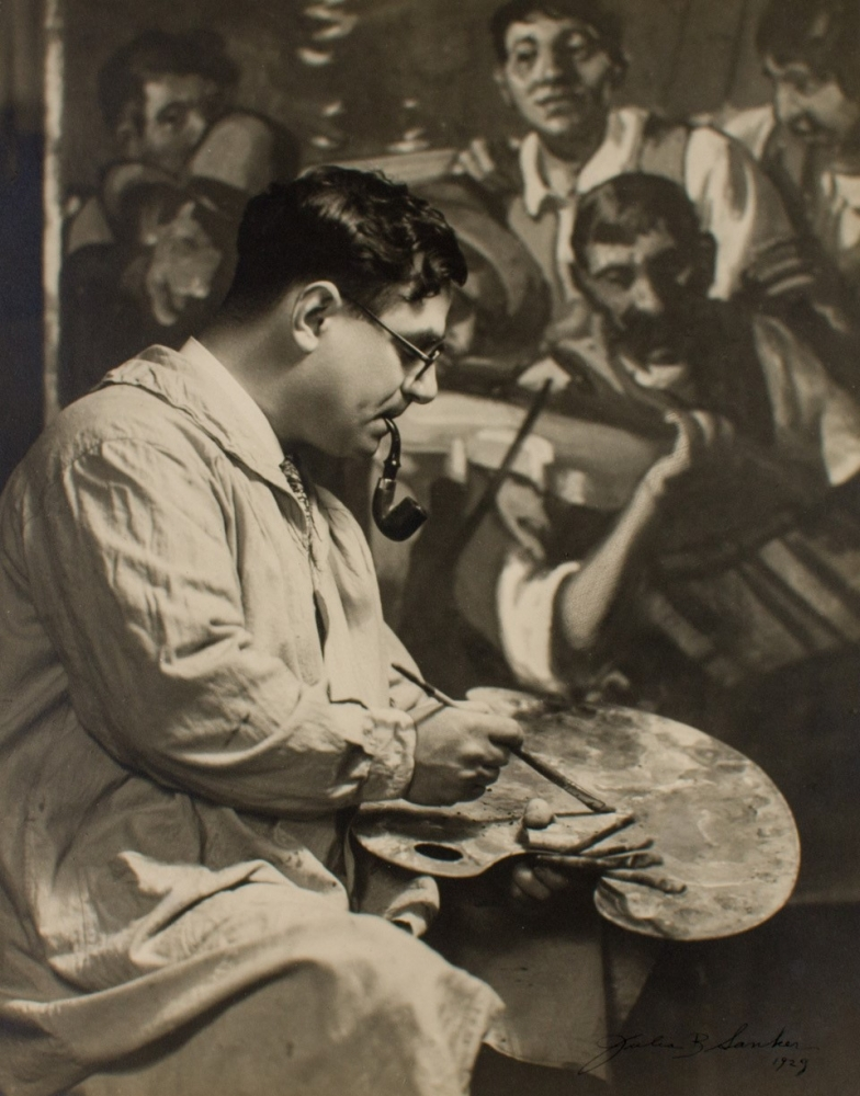 picture of Frank Wilcox painting in his Studio 1929 [Wolfs Gallery]