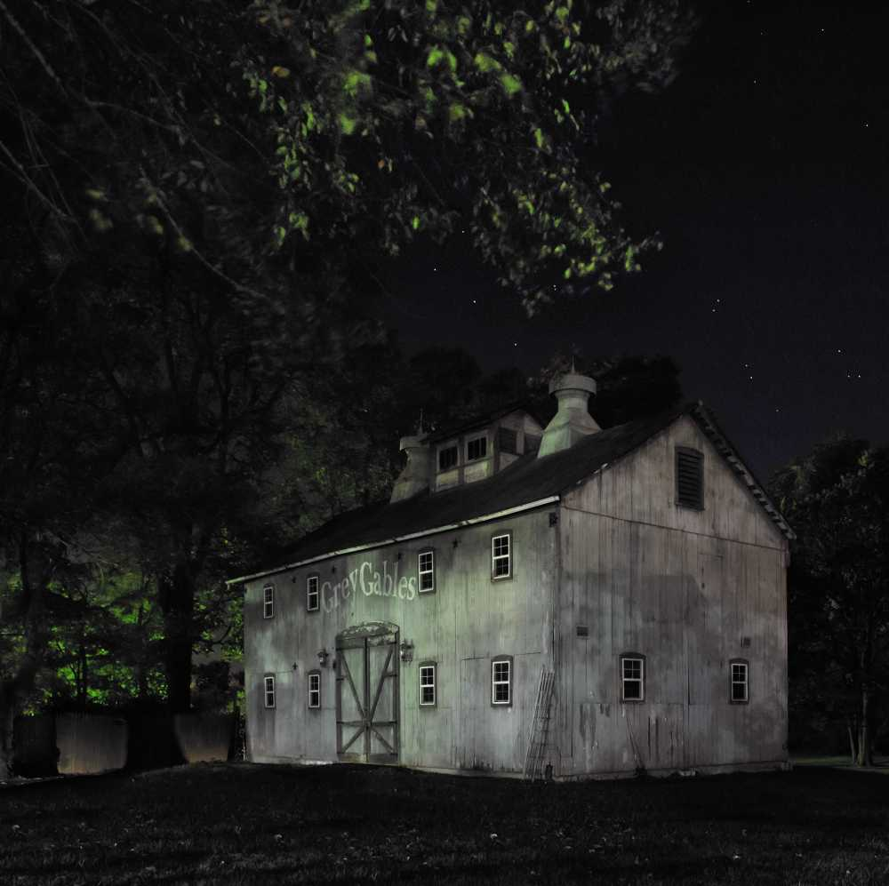 "[""Look for the Grey Barn Out Back."" Joshua Eliason Jr. barnyards and farmhouse, with a tunnel leading underneath the road to another station, Centerville, Indiana, 2013/ Jeanine Michna-Bales]"