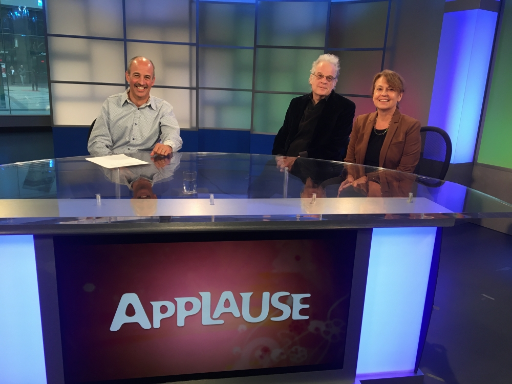 "ideastream's Dan Polletta, Case Western Reserve University professor of American Art Henry Adams, art historian Marianne Berardi sitting on WVIZ-PBS ""Applause"" set [Dave DeOreo/ideastream]"