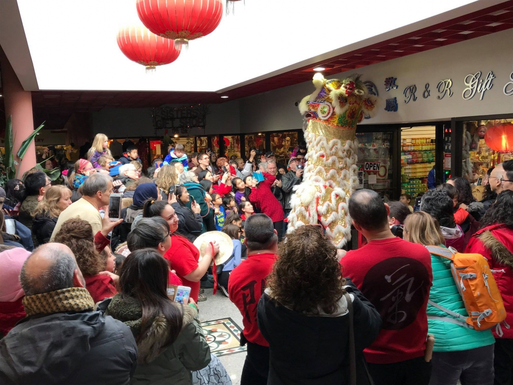 Lion dancing in Cleveland's Asia Plaza during 2018 Lunar New Year Celebration [Asia Plaza]