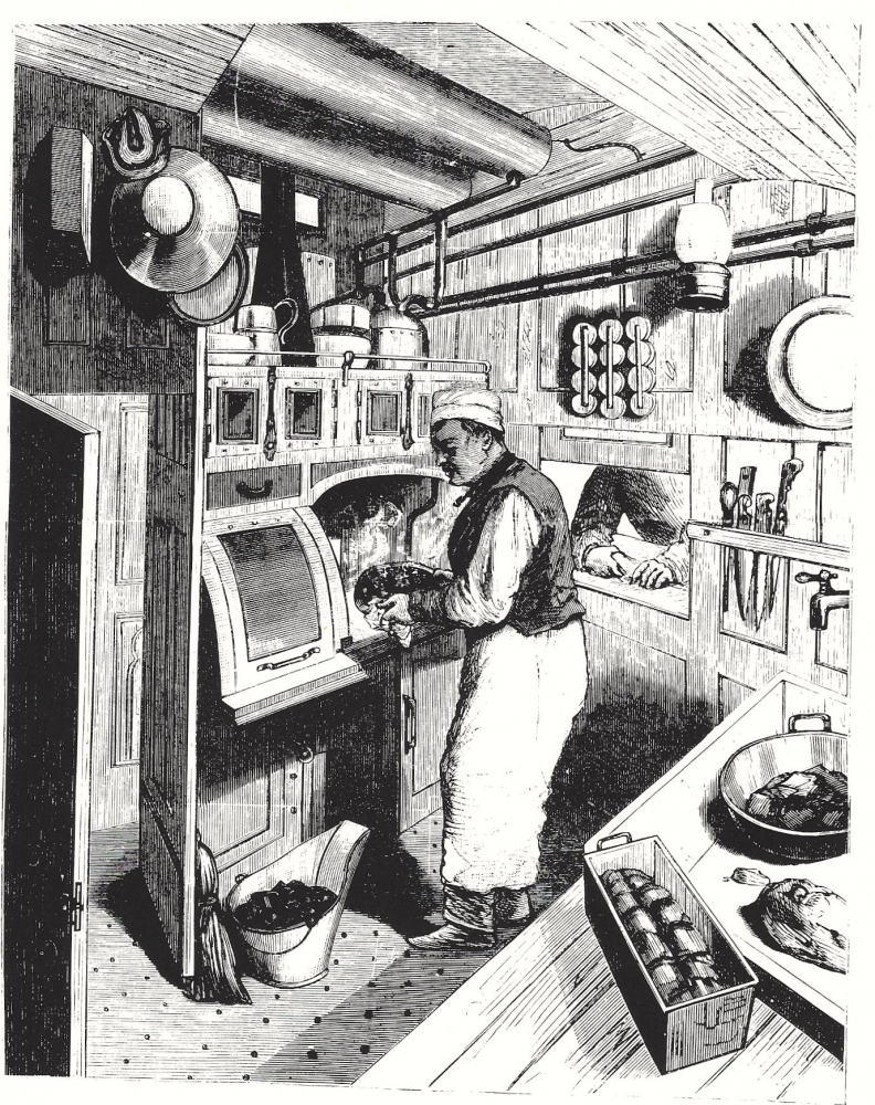 picture of n early dining car kitchen,  introduced  in the late 1860s, beginning the slow adoption of such equipment on railroads whose trains in the post-Civil War era traversed entire regions of the country. [James Porterfield]