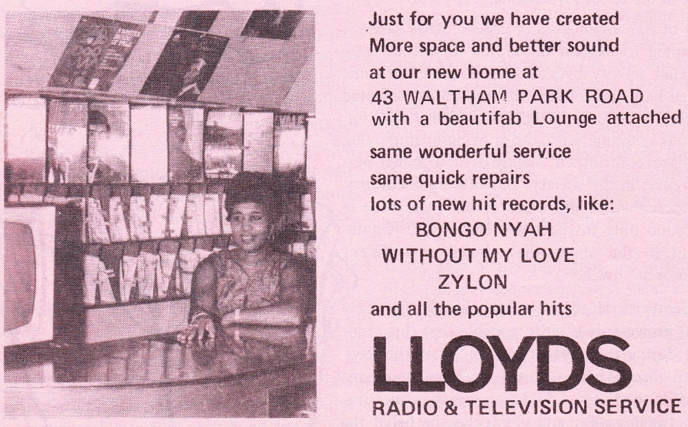 picture of advertisement for Lloyd Daley's record shop and nightclub [Rich Lowe]