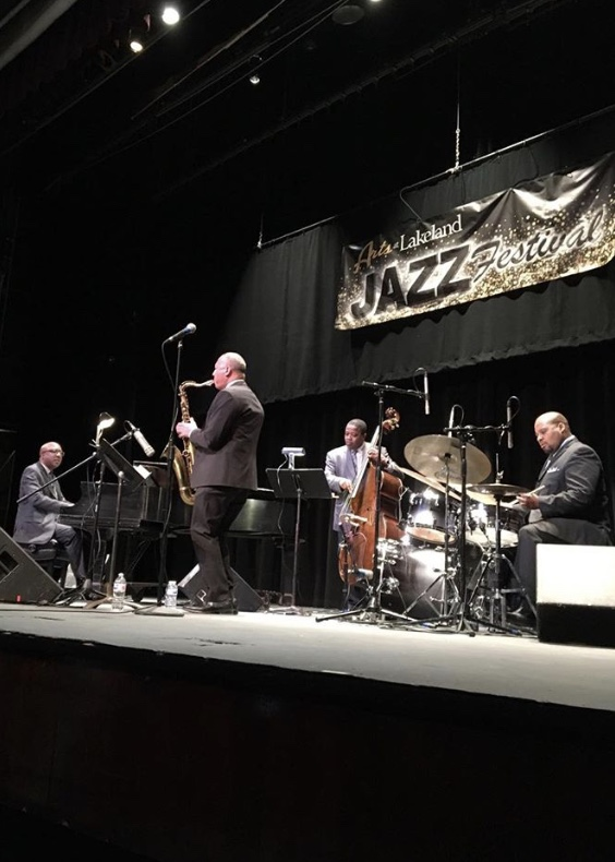 Photo of tenor saxophonist Ralph Moore and his quartet in performance at the 2019 Lakeland Jazz Festival [Dan Polletta/ideastream]