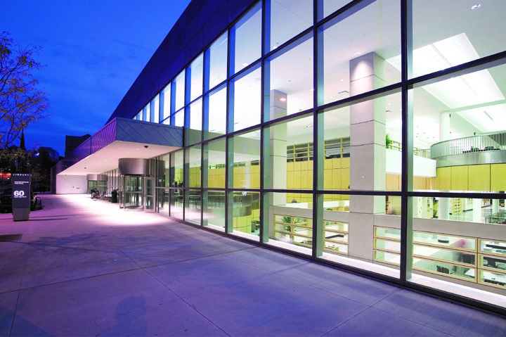 picture of Akron-Summit County Library Main Library at night [Maguire Photographs/Akron-Summit County Library]