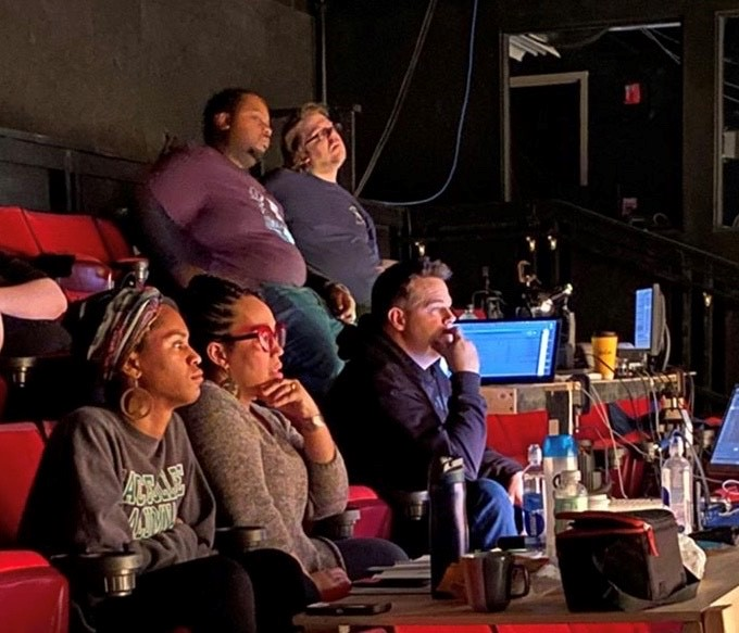 """Production and design team during technical rehearsals for Dobama Theatre's production of Dominique Morrisseau 's  """"Skeleton Crew""""  directed by Nina Domingue-Glover [Nina Domingue-Glover]"""