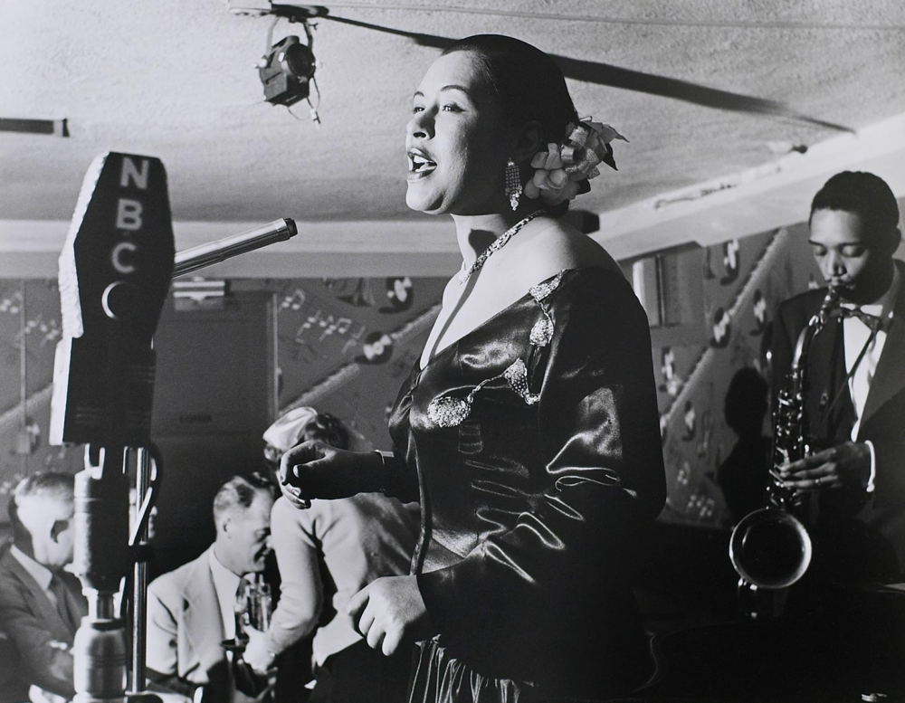 Photo of Billie Holiday The Tiffany Club, Los Angeles, 1952  [Tom & Ethel Bradley Center at California State University, Northridge/Rock & Roll Hall of Fame]