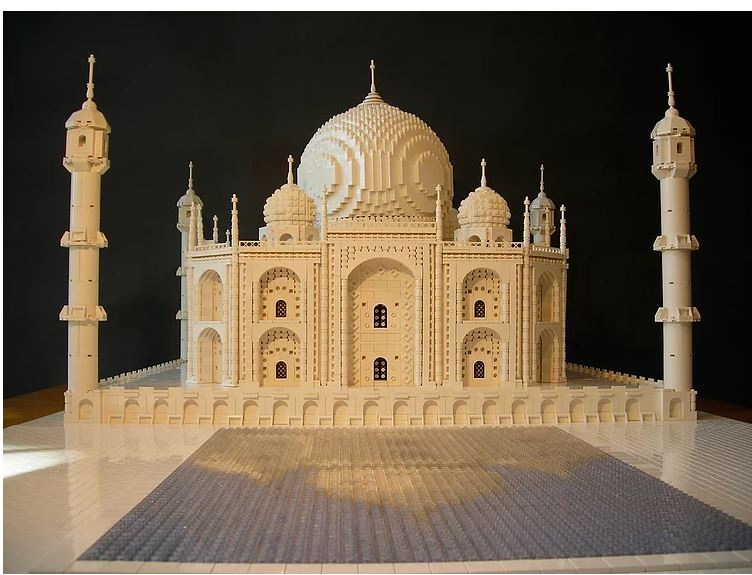 Gugick's Lego replica of the Taj Mahal including the reflecting pool. [Arthur Gugick]