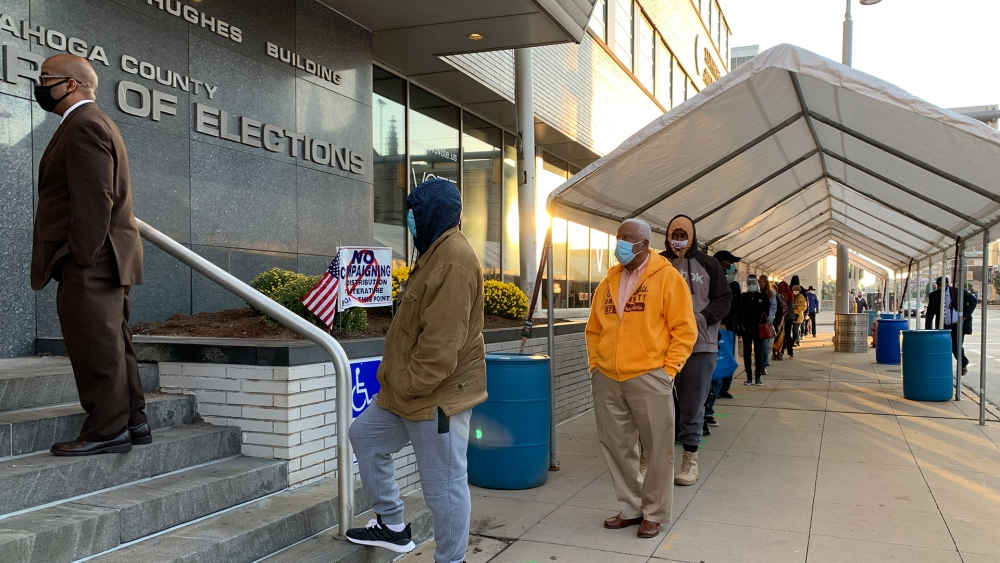 Voters on the first day of early in-person voting at the Cuyahoga County Board of Elections in Cleveland