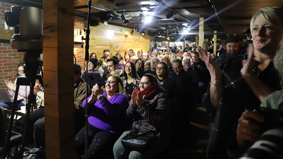 A crowd of more than 200 packed Market Garden Brewery for The Sound of Ideas Community Tour discussion on the future of Cleveland's West Side Market.