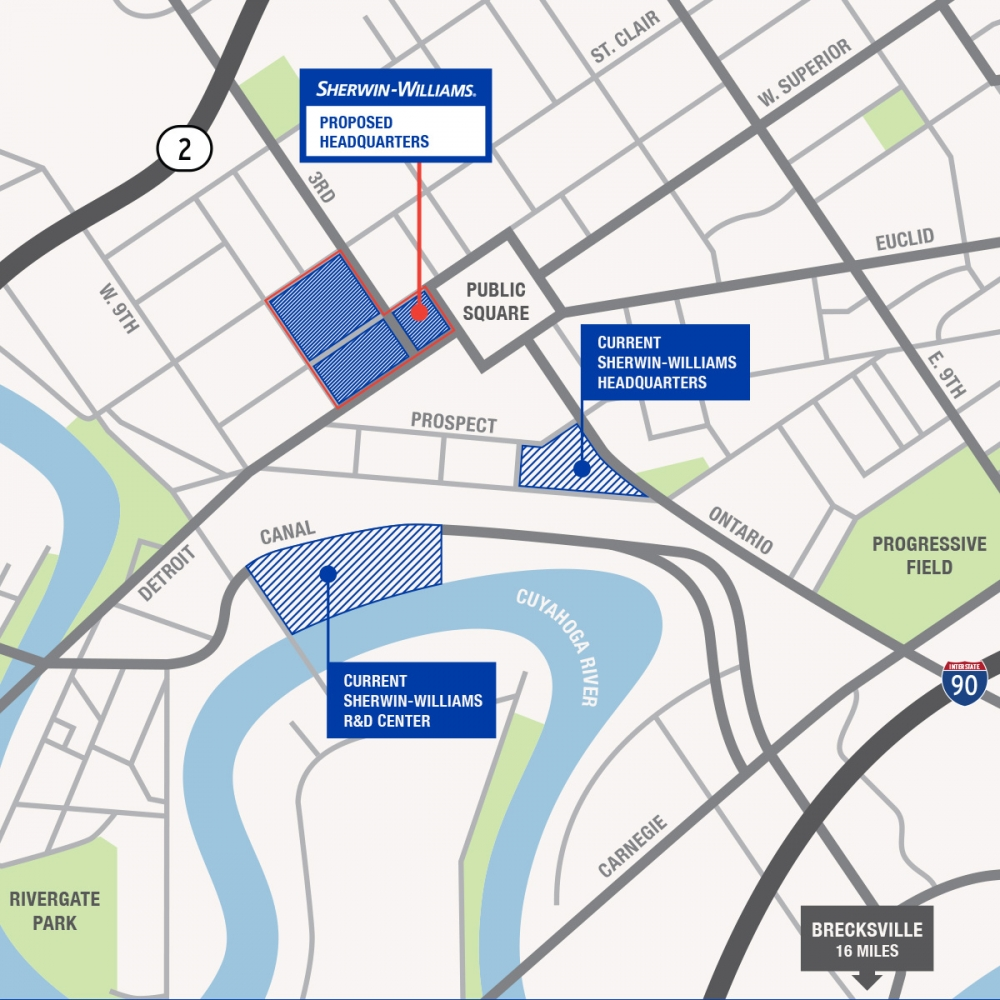 map of Sherwin-Williams new HQ site