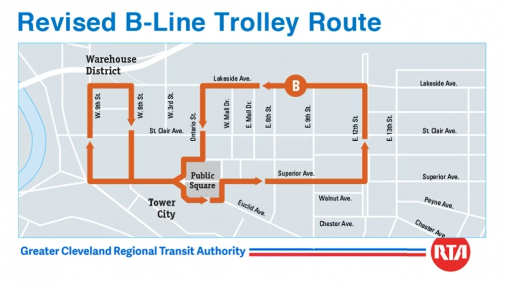 revised B-Line Trolley Route in Downtown Cleveland