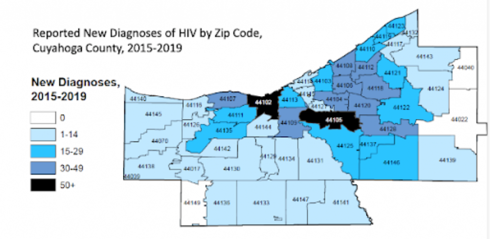 Two Cleveland ZIP codes have the most new reported diagnoses of HIV between 2015 and 2019.