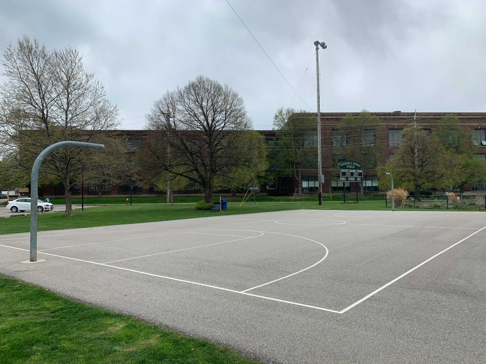 The basketball hoops at Madison Park in Lakewood's Birdtown neighborhood were removed following two recent shootings.