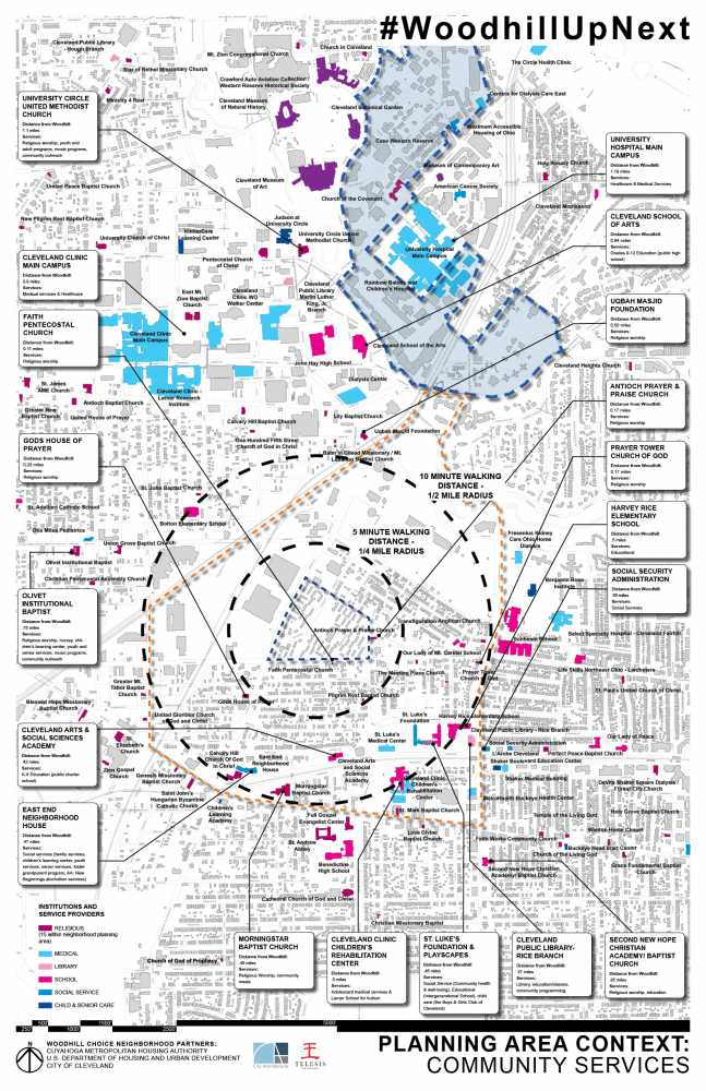A map shows Woodhill Homes in relation to University Circle, Cleveland Clinic and community services for residents.