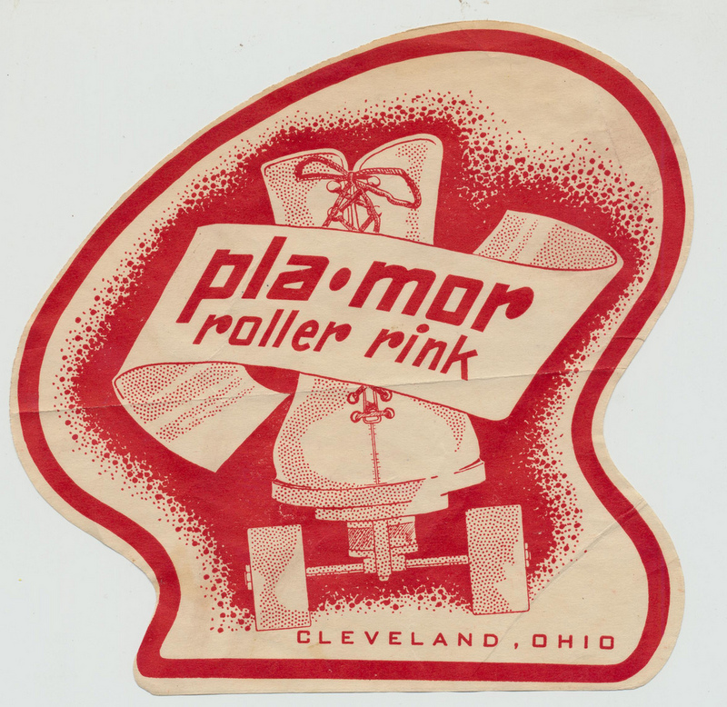 A historic decal shows the logo of the Pla Mor Roller Rink that existed in Cleveland from the 1940s to 1960s.