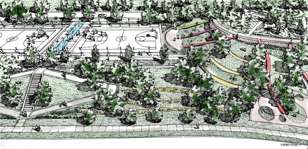 A rendering shows a proposed Woodhill Hillside Park in Cleveland.
