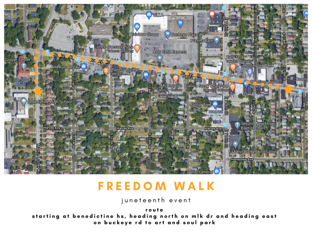A map shows the route of the Juneteenth freedom walk on June 20.
