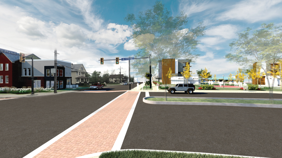 An artist's rendering shows the future vision for the intersection of Woodland Avenue and E. 110th St.
