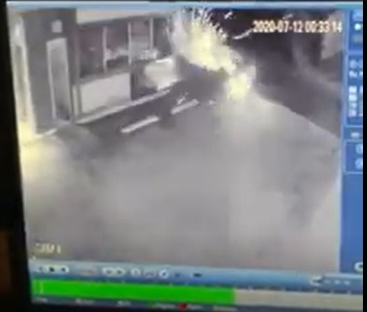 An image from a security camera shows a car crashing into the 49er Restaurant.
