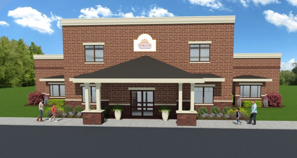 An architectural rendering shows Horizon's new school.