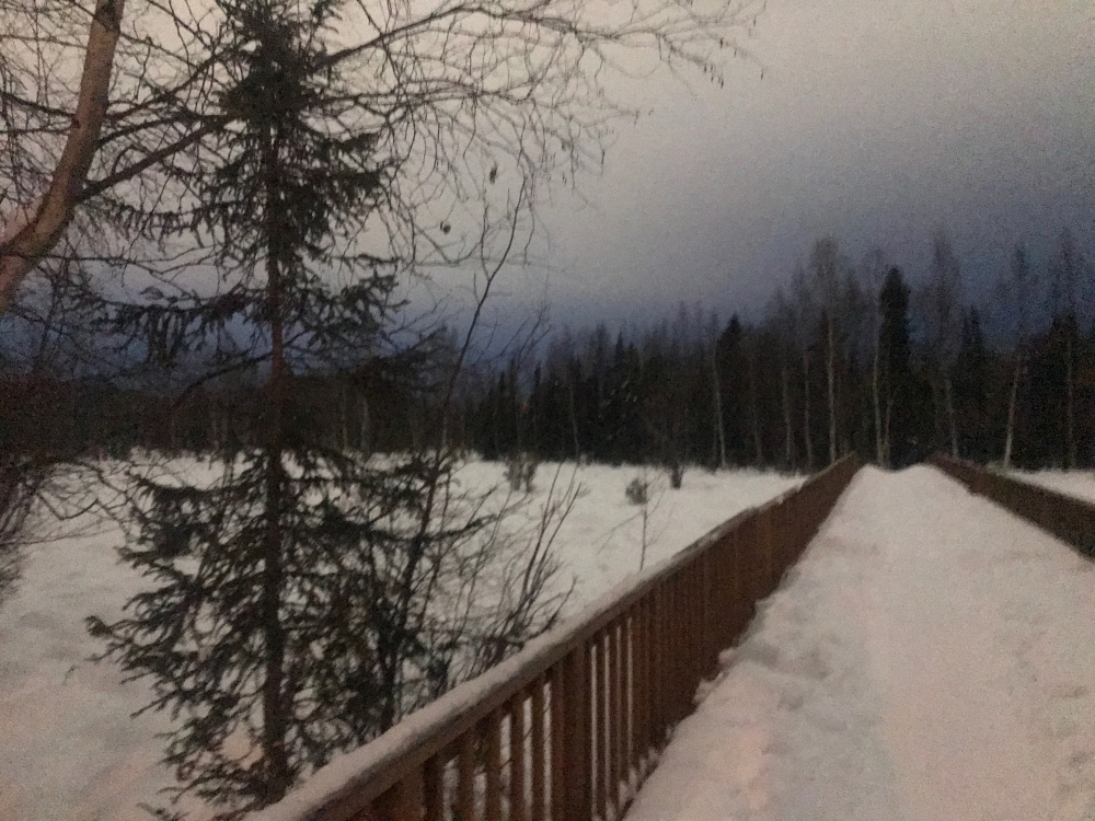 A city trail in Anchorage, Alaska is covered with snow.
