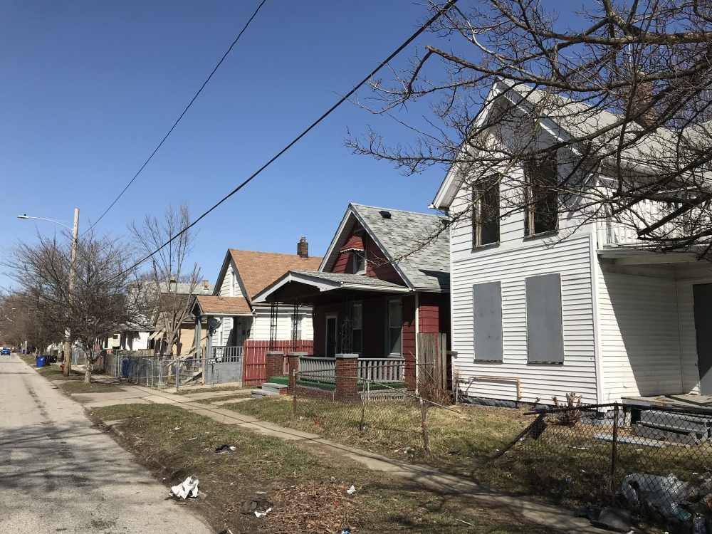 A photo shows a street of houses in Cleveland