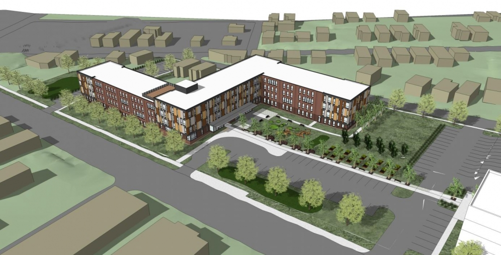 A rendering shows the first phase of the Woodhill Homes rebuild.