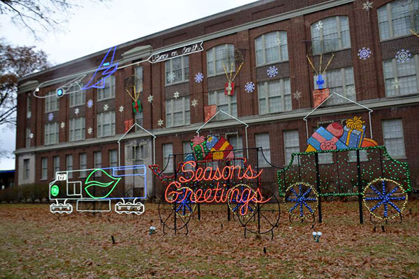 Holiday lights at General Electric's Nela Park campus in East Cleveland.