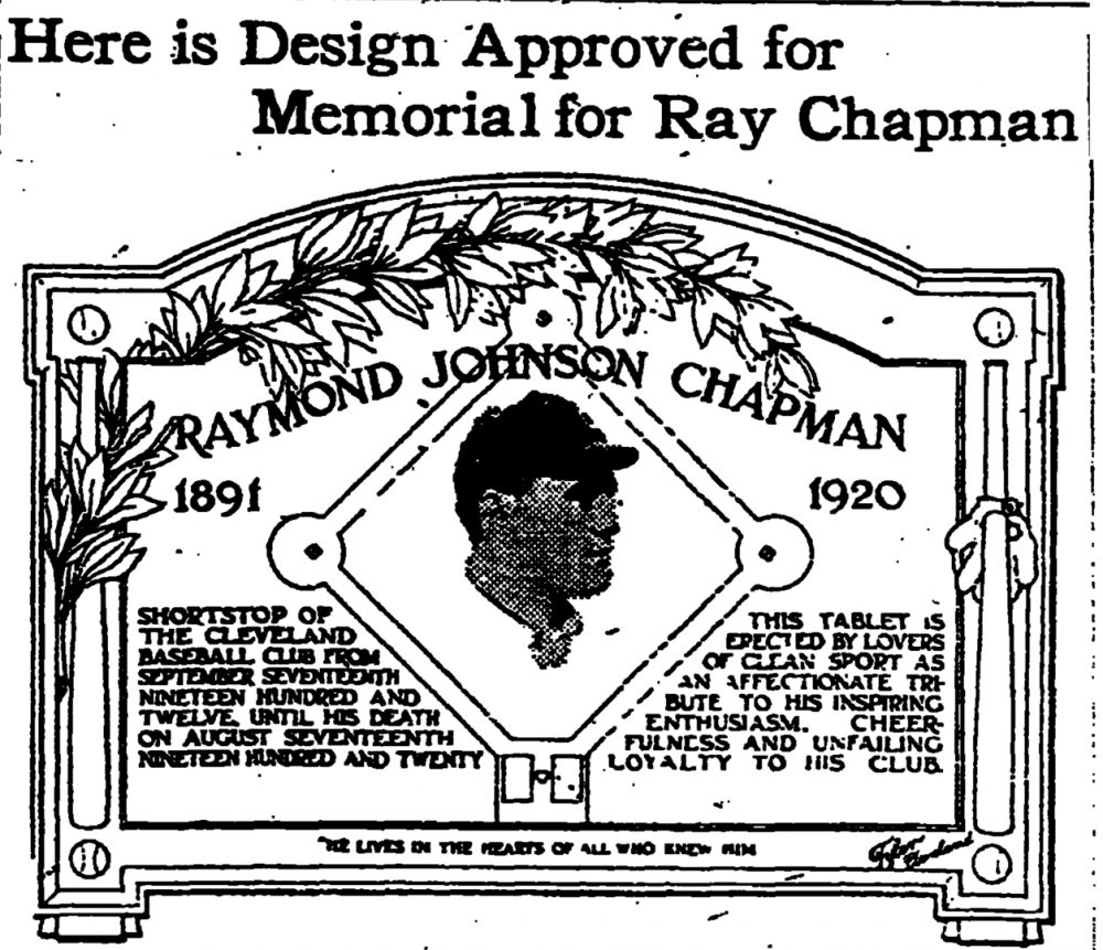 An article in the Plain Dealer on September 30, 1920 describes the plaque that would eventually be created in Chapman's honor.