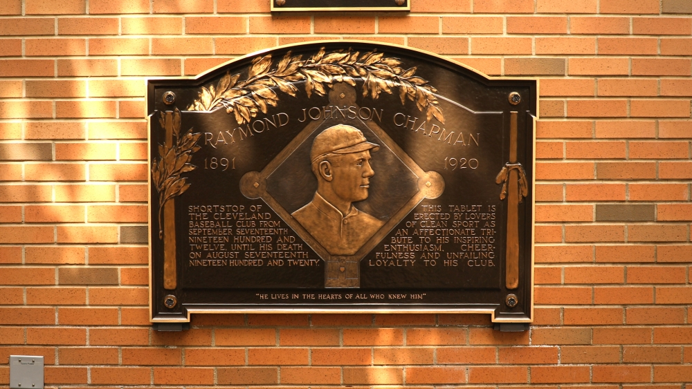 Raymond Chapman's plaque displayed in Heritage Park at Progressive Field in Cleveland.
