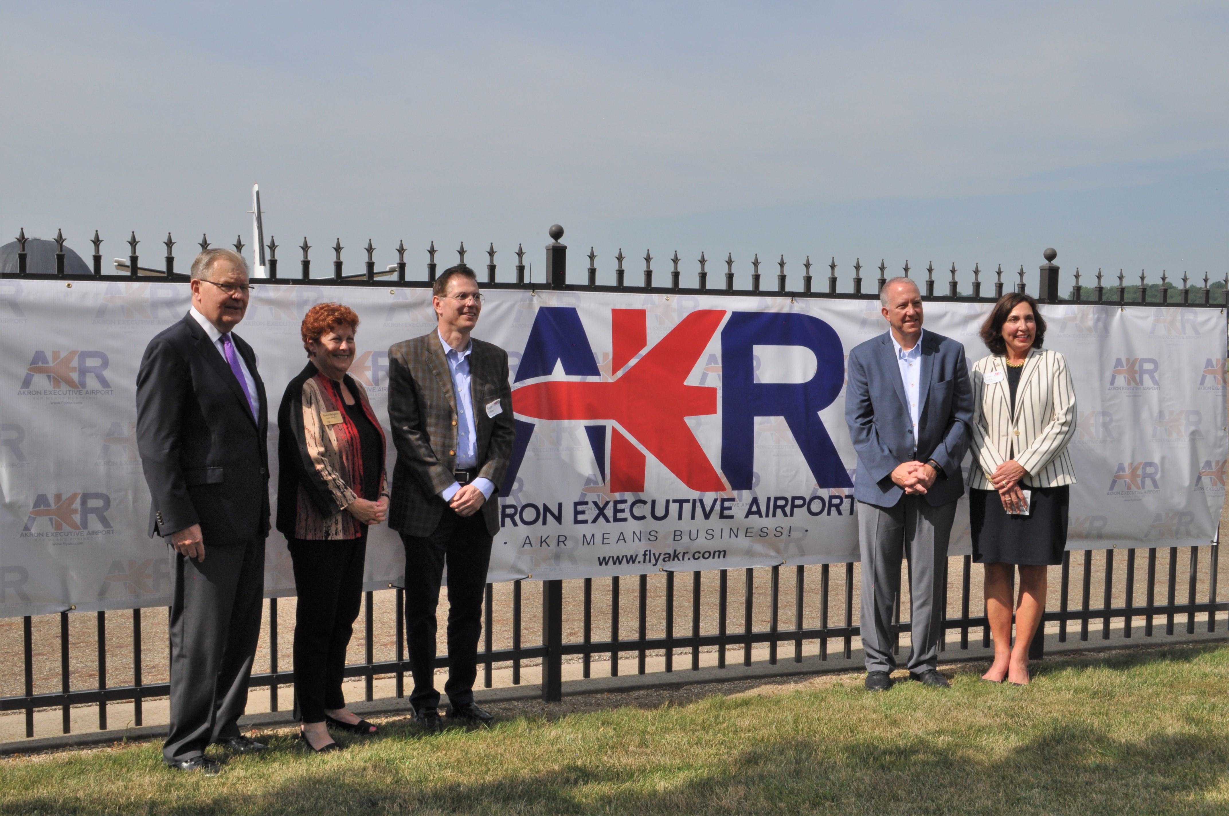 (L to R) Phil Maynard, County Exec Ilene Shapiro, Randy Theken, Mayor Daniel Horrigan, Stark State President Para Jones