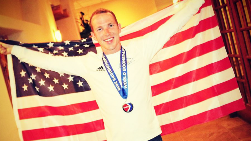 Broadbent joined the U.S. Boomerang Team at 14. He's won three World Championships with the team - 2010 Rome, 2016 Kiel, 2018 Albuquerque.