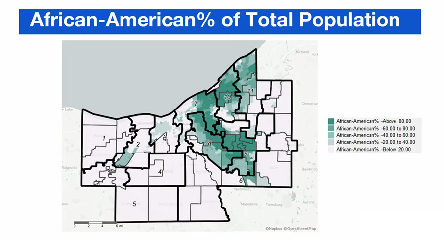 A map of Cuyahoga County showing distribution of African American populations in different districts.